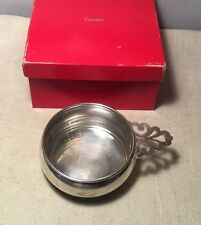 Cartier Antique Sterling Silver Handled Porringer Bowl & Box
