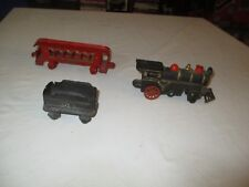 Vintage Cast Iron Train Engine and Coal Tender - No. 50 and Passenger Car 403