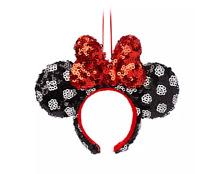 Disney Parks Minnie Black Polka Dot Red Bow Headband Ears Holiday Ornament  NEW