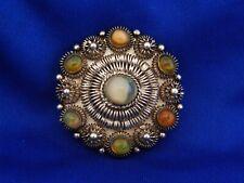 vtg. Mex. Fire Opal wire work Brooch  sterling silver signed