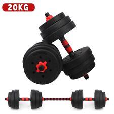 20kg Adjustable Dumbbells Barbell Set Gym Strength Weight Cast Iron HomeTraining
