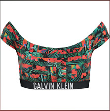 🌺 Calvin Klein Womens Multicoloured Floral Swim Bikini Top Sz L Genuine New 🌺