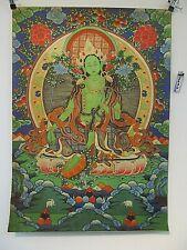 altes GRÜNE TARA Buddha Thangka Bild Holzschnitt auf Seide & Papier Tibet ~1970