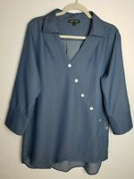 Boho Chic V Neck Tunic Women's Size L Large Blue Cotton Spandex Made in USA