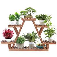 Solid Wooden Plant Stand Triangular Shelf Flower Pots Rack Holder Indoor Outdoor