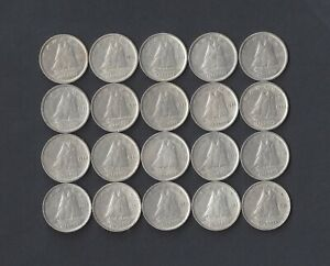 Lot of 20 Canada 80% Silver Dimes, Mixed Dates from 1940-1949