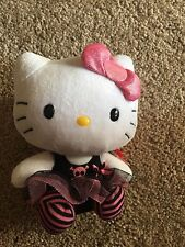 Ty Beanie Baby Hello Kitty Pink and Black Stripped Dress With Skull