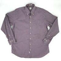 Peter Millar Button Down Shirt Men's Size L Cotton Long Sleeve Gingham Plaid *