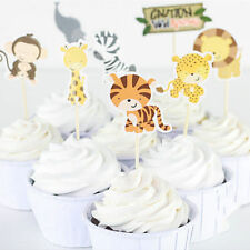 24pcs Safari Jungle Animal Cupcake Toppers Kids Birthday Party Decoration