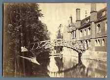 UK, Cambridge, Queen's Canal, Mathematical Bridge  Vintage albumen print. V