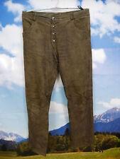 Weiches Wildleser mit Antikleder Patina grau grün lang Trachten Lederhose Gr.52