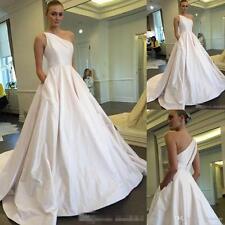 One Shoulder Taffeta Wedding Dress With Pocket Bridal Gown Custom Size 4 6 8 10+
