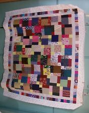 AF0824 Handmade Scrappy Patchwork LAP QUILT TOP DISAPPEARING 9-PATCH 54 x 66.5