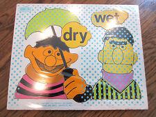 Playskool Play School Vintage Wooden Puzzle Burt Ernie Wet And Dry 1973 12 Pcs