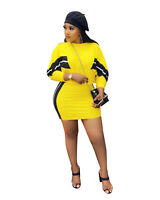 Women Patchwork Stripes Crew Neck Long Sleeves Casual Club Party Mini Dress 2pc