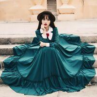 Vintage womens ladies Full long dress lolita gothic ball down sleeve Green Dress