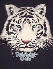 Rainforest Cafe Café White Tiger Animal Lover Blue Eyes Souvenir T Black Shirt M