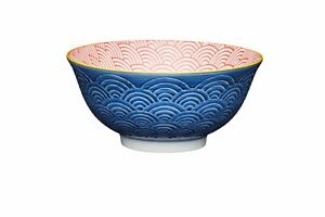 Set of 4 KitchenCraft Blue Arched Pattern Ceramic Bowls