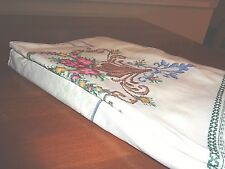"Large table cloth Cross stitched Beauty  66""x 102"""