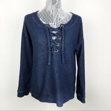 Sanctuary Navy Blue Lace Up Pullover Sweatshirt Women's Size Small