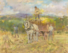 Alice Des Clayes ARCA Haymakers with Horse –Original 20th-century pastel drawing