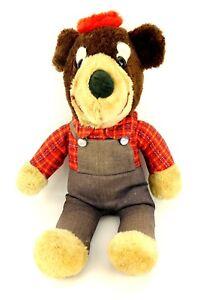 "Vtg 20"" Elka Overall Bear Plush Stuffed Animal Toy Embossed Buttons Plaid Shirt"