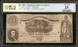 1861 $10 DOLLAR CONFEDERATE STATES CURRENCY CIVIL WAR NOTE MONEY T-30 PCGS 25