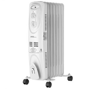 1500W Oil Filled Radiator Heater, Electric Space Heater, Portable -LIVINGbasics™