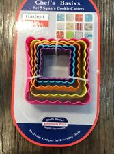 NEW Set Of 5 COOKIE CUTTERS Assorted Fluted / Straight Square