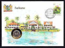 1986 Numisbrief Suriname coin & stamp cover Waterside Cachet South America
