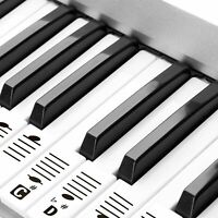 Removable Piano and Keyboard Stickers for 49 61 76 88 Transparent for Learning