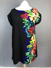 Ladies NEW LOOK black floral summer cap sleeve shift dress SIZE 18 VGC A292#