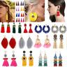 Women Fashion Bohemian Alloy Long Tassel Dangle Fringe Drop Stud Earrings Gifts