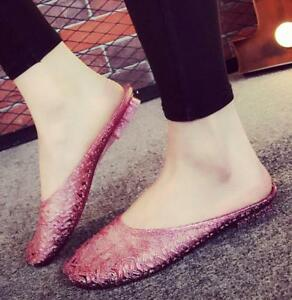 Ladies Jelly Shoes Slippers Breathable Living Room Loafers Flat Shoes Sandals Sz