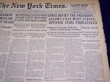 1941 OCT 26 NEW YORK TIMES - LEWIS DEFIES PRESIDENT, COAL MINERS STRIKE- NT 1380