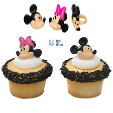 Mickey & Minnie Mouse Cupcake Toppers Rings - 12 pcs Cake Toppers Birthday Party