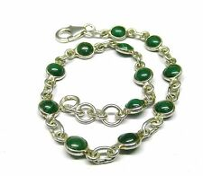 Handmade 925 Sterling Silver Bracelet Real Round Malachite Stones and Gift Box