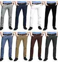 Mens Chino Trousers Skinny Fit Stretch Casual Jeans westAce Cotton Designer Pant