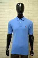 RALPH LAUREN Polo Slim Blu Maglia Uomo Taglia XL Maglietta Shirt Man Herrenhemd