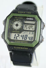 Casio AE-1200WHB-1BV World Time Digital Watch Cloth Band 5 Alarms New