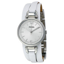 Fossil Women's ES3246 Georgia Analog Silver Dial White Triple-Wrap Leather Watch