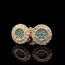 0.20CT Round Simul Diamond Halo Earrings 14k Solid Yellow Gold Aqua Blue Studs