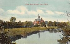 Alma Michigan~Senior High School~Waterfront View~1911 Postcard