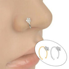 1Pc Small Thin Clear Rhinestone Flower Ring Charm Nose Ring jewelry Fashion FR