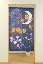 JAPANESE Noren Curtain NEW OWL FUKURO BIRD FLOWER ASAGAO MADE IN JAPAN