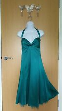Ladies green satin halter neck rockabilly lined dress– Size 12 – Warehouse