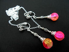 A PINK/YELLOW CRACKLE GLASS BEAD NECKLACE AND CLIP ON EARRINGS SET. NEW.