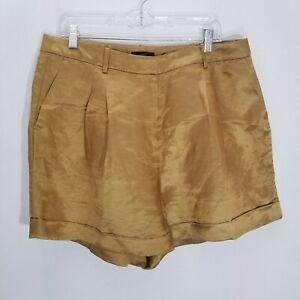 J Crew Drapey Shorts Satin Faced Linen Womens Size 16 Honey Brown Pleat AM950