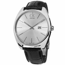 Calvin Klein Men's Exchange Silver Dial Leather Strap Quartz Date Watch K2F21120