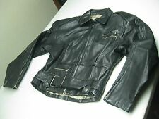 DISTRESSED NEW ORDER BLACK LEATHER MOTORCYCLE JACKET SMALL